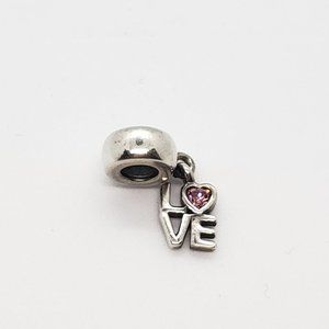 Pandora Love Dangle Charm Pink Crystal Sterling